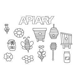 Apiary bees and honey elements hand drawn set vector