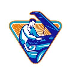 Automobile mechanic repair car retro vector