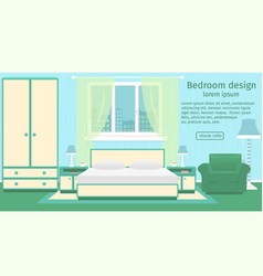 banner of a bedroom interior with furniture and vector image vector image