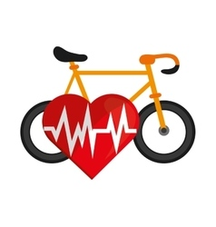 Bike and heart cardiogram icon vector