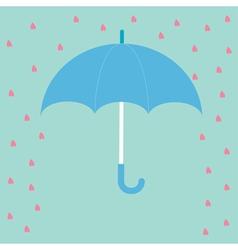 Blue umbrella with rain hearts love card flat desi vector