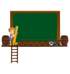 Board template with boy holding crayon vector