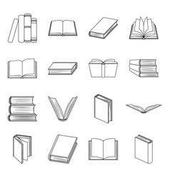 Books set icons in line style big collection of vector