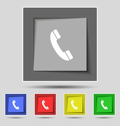 Call icon sign on original five colored buttons vector image