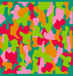 Camouflage seamless pattern in red pink green vector