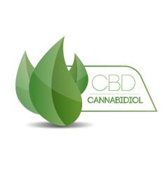 Cbd cannabidiol - three leaf vector
