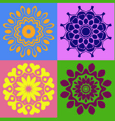 colorful mandala ornaments collection vector image