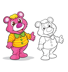 Cute bear cartoon mascot vector image vector image