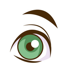Cute cartoon eye eyebrow emotion look vector