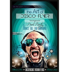Disco Night Club Flyer layout with DJ shape vector image vector image
