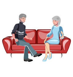 grandparents sitting on the couch vector image vector image