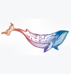 Hand drawn beautiful dotwork blue whale vector