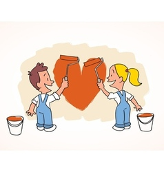 Happy couple paint new appartment vector