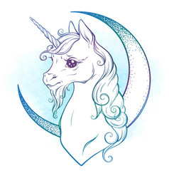 little unicorn and crescent moon in pastel colors vector image
