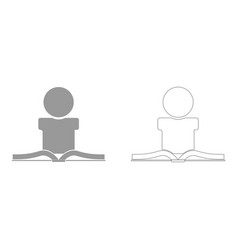 Man reading book set icon vector