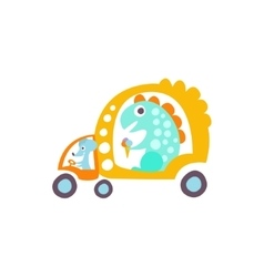 Mause drives dinosaur in rat-tat taxi stylized vector