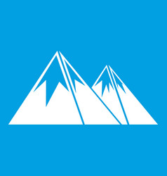 Mountains with snow icon white vector