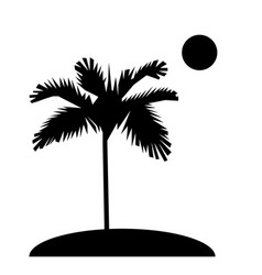 palm trees silhouette on island sun flat design vector image