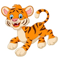Playful tiger cartoon vector