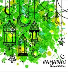 Ramadan kareem background on watercolor texture vector