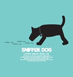 Sniffer Dog Smell Footprint On Ground vector image vector image