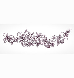 stylized rose flowers bouquet branch of flowers vector image
