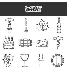 Wine flat icons set vector