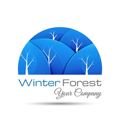 Winter forest icon with round shadow logo design vector