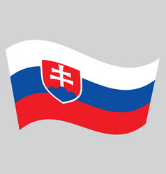 Flag of slovakia waving on gray background vector