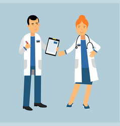 two doctors characters in a white coats standing vector image