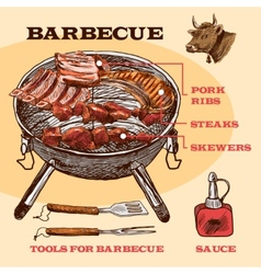 Sketch meat bbq infographic vector