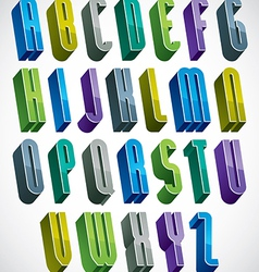 3d colorful letters tall alphabet made with round vector image