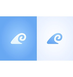 Sign of wave ripple on white and blue background vector