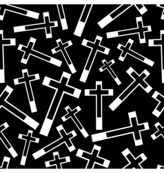 Black and white religion cross seamless dark vector