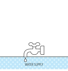 Water supply icon crane with drop sign vector