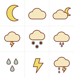 Icons style weather icons on white background vector