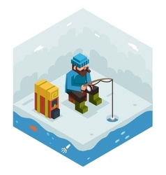 Ice fishing winter activity vacation icon flat vector