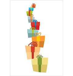 Bunch of gifts stack of gift boxes tower of gifts vector