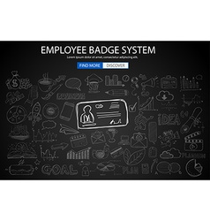 Employee badge system concept with doodle design vector