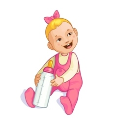 Smiling baby girl with bottle image eps10 vector
