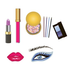 Beauty product and makeup details vector