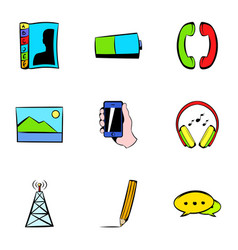 antenna icons set cartoon style vector image