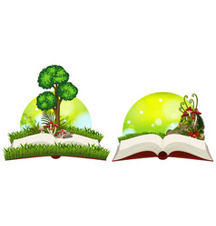 book of nature with grass and tree vector image vector image