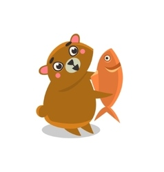Brown bear holding fish vector