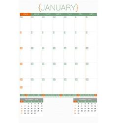 Calendar planner 2016 design template january week vector