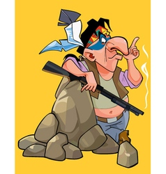 Cartoon injun with a gun is leaning on the stone vector