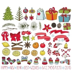 Christmas decoration kitcolored doodles vector