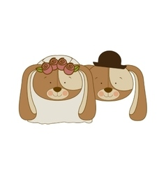 Color silhouette with faces couple of married dogs vector