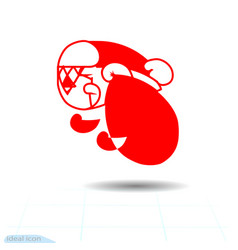 Cool icon santa simple geometric linear christmas vector