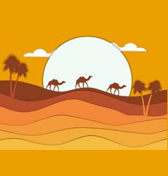 desert landscape with a caravan of camels vector image vector image